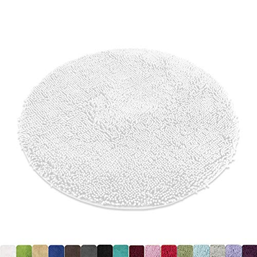 MAYSHINE Round Bath Mat Non-Slip Chenille 3ft Shaggy Bathroom Rugs Extra Soft and Absorbent Perfect Plush Carpet for Living Room Bedroom, Machine Wash/Dry-White (Non Rug Slip Round)