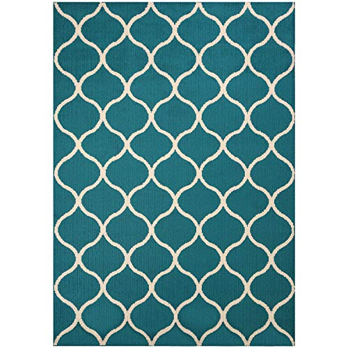 Maples Rugs Rebecca 5 x 7 Large Area Rugs [Made in USA] for Living, Bedroom, and Dining Room, Teal/Sand