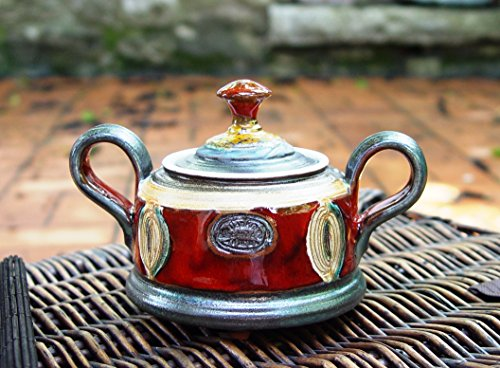 [Red Ceramic Sugar Bowl. Pottery Sugar Container, Clay Bowl with Lid, Sugar box] (Traditional Costume Contemporary Dance)