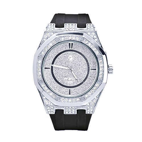 XL Men's Techno Pave Fashion Bling Silver Plated Iced Out Black Band Watches WR 8154 SBK
