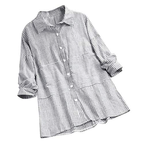 TUSANG Women Tees Casual Striped Lapel Button Plus Size Long Sleeve Top Shirt Blouse Loose Fit Comfy Tunic(Gray,US-8/CN-L)