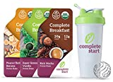 Complete Start - Plant Based Meal Replacement, Starter Pack (9 Shakes + FREE Blender Bottle) - 100% USDA Organic, Vegan Protein, Dairy Free, Gluten Free, Soy Free - 3 of Each Delicious Flavor