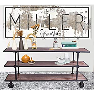 LOKKHAN 3-Tier Industrial Serving Cart with Wheels-Wood and Metal Rolling Utility Cart,Home Kitchen Trolley Wine Cart…