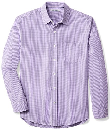 Button Mini Football - Amazon Essentials Men's Regular-Fit Long-Sleeve Casual Poplin Shirt, Purple Mini-Gingham, X-Large