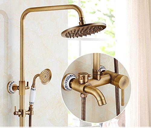 T GFEI Antique shower nozzle set   European style all copper bathroom, retro bathroom, lift shower, sprinkler, shower faucet,U