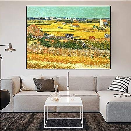 N / A Pintura sin Marco Pinturas murales en Las Paredes de la Sala de Pintores Famosos, Pinturas al óleo Que cosechan paisajes en LaclauZGQ5145 60X90cm