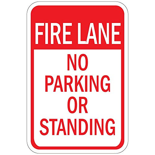 Vintage Metal Sign Poster Tin Art - 12x16in,Fire Lane No Parking Or Standing - Style1793 Safety Warning Business Signs Commercial Metal Sign Metal Aluminum