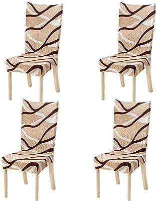 Feilaxleer coprisedie con Schienale 4 Pezzi Elasticizzato,Removibile coprisedie Sala da Pranzo coperture Decorative per casa, Cucina, Hotel e