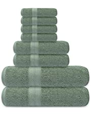 Avalon Towels Premium Towels Set – Made from 600 GSM Premium Ring Spun Cotton – Pack of 8 Highly Soft and Absorbent Towels – Set Includes 2 Bath Towels, 2 Hand Towels and 4 Washcloths