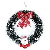 PartyTalk Christmas Wreath Bells Santa Burlap Bows, 14 Inch Artificial Christmas Tinsel Garland Window Wall Door Hanging Decorations, Green White