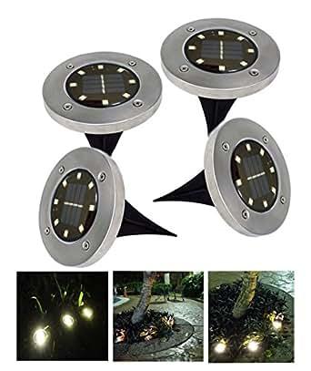 TUTU TECH Solar Ground Light with 8 LEDs, Waterproof Garden Path Lighting with Light Sensor, SGL-04, Pack of 4, Warm White