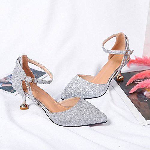 la y femeninos sola tacones Silver punta zapatos la fina Xue Baotou Qiqi de con ranurada correa luz wild qwRxP04