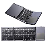 Bluetooth Foldable Keyboard, M.Way Ultra Slim Tri-fold Wireless Portable Keyboards with Touchpad