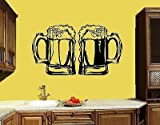beer wall vinyl - Wall Decal Mugs Kitchen Bar Beer Alcohol Drink Glasses Vinyl Decal VS316