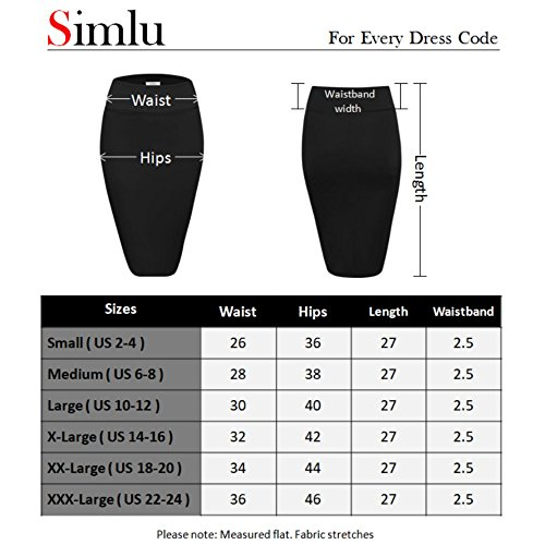 Women's Below the Knee Pencil Skirt for Office Wear - Made in USA,Black,X-Large by Simlu (Image #2)