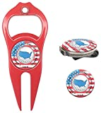 golf bottle cap opener - Hat Trick Openers 6-in-1 Golf Divot Tool & Hat Clip Set with USA Logo, Red
