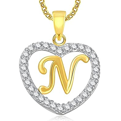 Buy Dc Jewels Gold Plated Alphabet N Heart Pendant With Chain For