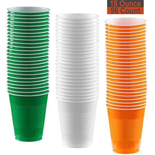 18 oz Party Cups, 96 Count - Festive Green, White, Pumpkin Orange - 32 Each Color