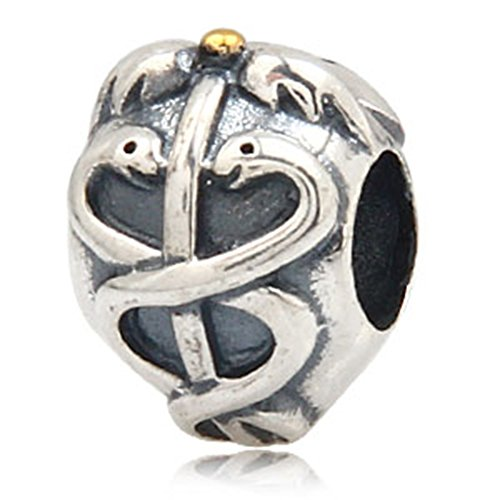 LIFE SAVER Charm - 925 Sterling Silver Two Snake Charm - ...