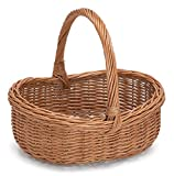 Wicker Oval Shopping Basket Rimmed with Handle