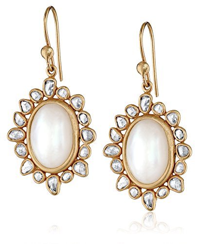Lauren Harper Collection Over the Moon 18k Gold, Mother of Pearl and Champagne Rose Cut Diamond Oval Earrings