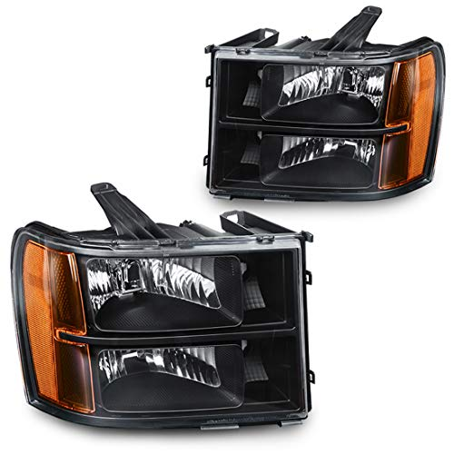 Headlights Replacement for 2007-2014 GMC Sierra 1500/2500HD/3500HD Black Housing with Amber Reflector Clear Lens (Driver and Passenger Side)