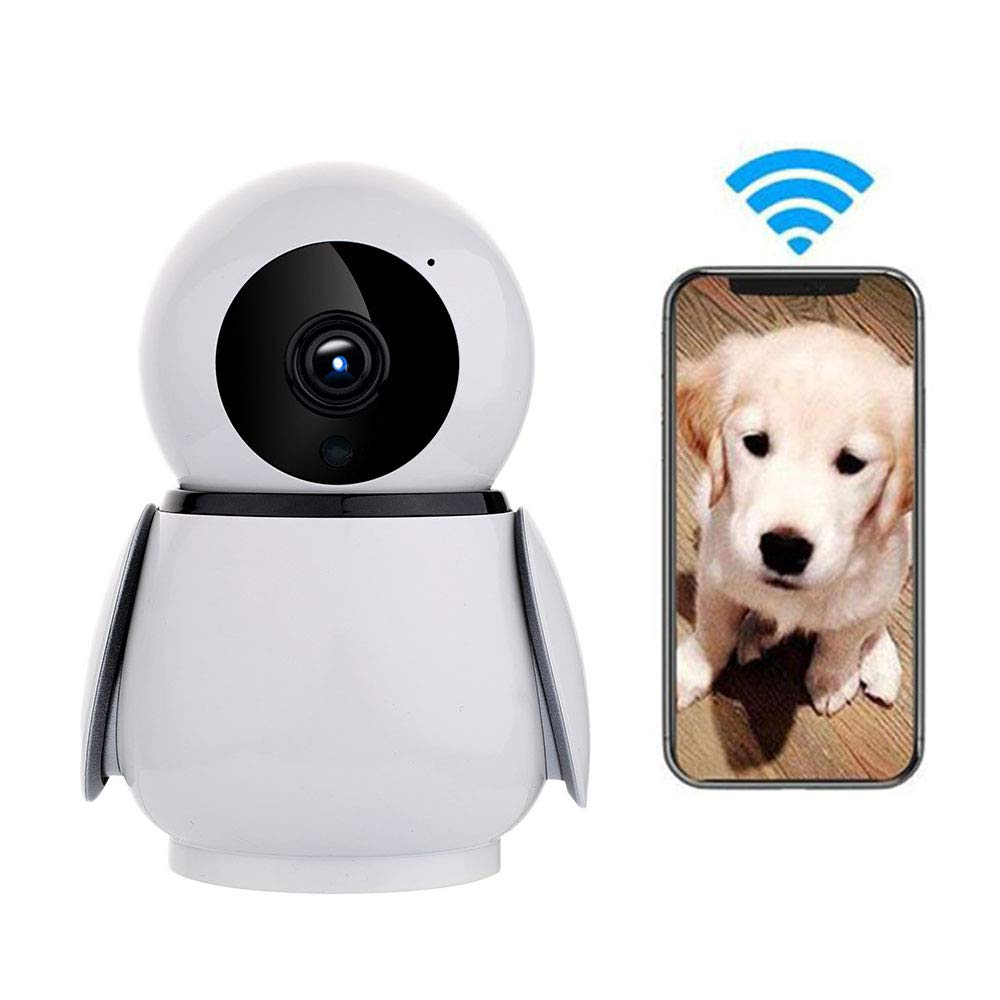 LEEFISH Penguin Pet Camera, Wifi HD Dog Monitor, Wirless Ip Camera, Indoor for Baby Dog Cat with Motion Detection Infrared Night Vision Ptz redation Monitoring Two-Way Audio,1080p