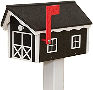 product image for Recycled Poly Plastic Barn Mailbox USA Handmade (Black & Black)