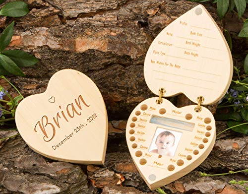 (Baby Tooth Box, Baby Shower Gift Idea - Personalized Wooden Organizer for Baby Teeth)