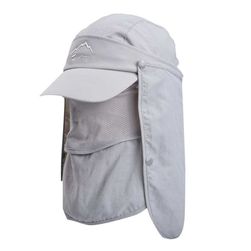 Tantisy ♣↭♣ Fully Enclosed Sun Protection Hats ☘ Unisex Flap Hats Sunscreen Cap Removable Summer Outdoor Fishing Hat Gray