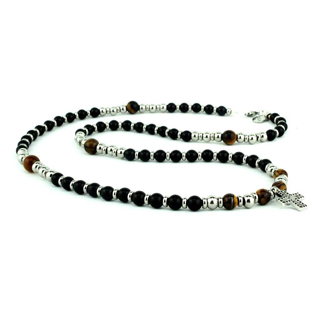 Collana uomo rosario con pietre dure naturali onice nero e occhio di tigre con croce pendente in argento 925 e distanziatori in acciaio inossidabile