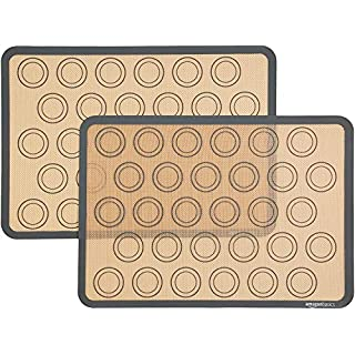 AmazonBasics Silicone, Non-Stick, Food Safe Baking Mat, Macaron - Pack of 2