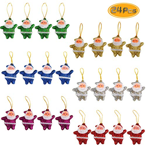 BeautyMood 24PCS Christmas Tree Ornaments, Xmas Hanging Decoration Santa Clause for Christmas Tree Holiday Home Ornaments Decorations Party Festive Glitzy Santa Ornaments Stocking Stuffers Multicolor