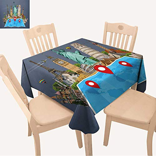 UHOO2018 Square/Rectangle Polyester Table Cloth Famous Monuments of The World grouped Together on a map with pin icon Easy Care Spillproof,50x 50inch -