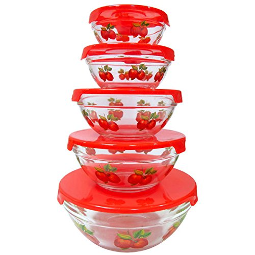 10-piece Glass Lunch Bowls Healthy Food Storage Containers Set, Stackable, Microwave and Dishwasher safe Food Storage Container Set, Apple Design ()