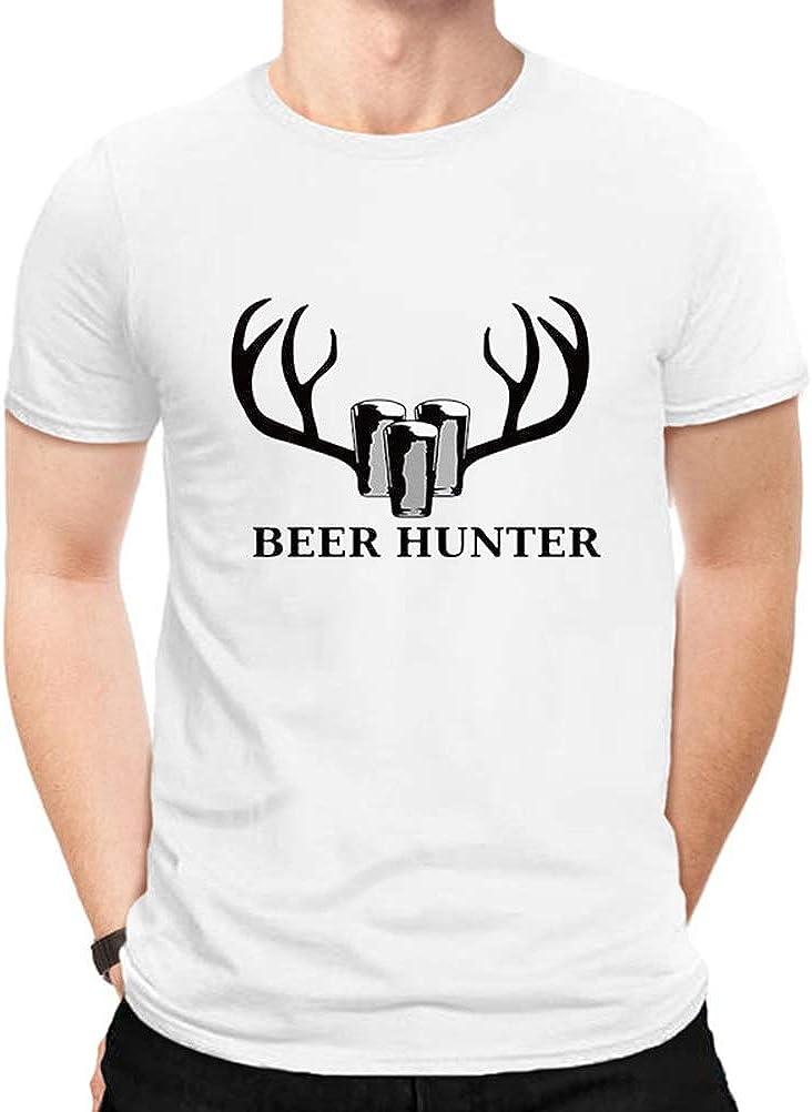 YUFAA Cazador de Cerveza Impreso Hombres Manga Corta Cuello Redondo al Aire Libre Divertido Ciervos Caza Camiseta Camisa de Entrenamiento (Color : Blanco, Size : L): Amazon.es: Ropa y accesorios