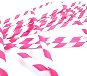 Bella Cupcake Couture Paper Party Striped Straws, Pink/White by Bella Cupcake Couture