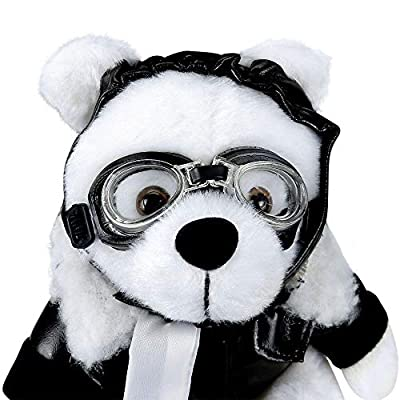 Plush White Aviator Bear, Teddy Bear Plush, Black Faux Leather Bomber Jacket, Goggles & Helmet: Toys & Games