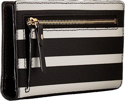 Kate Spade New York Women's Hyde Lane Stripe Stacy Wallet, Black/Cream, One Size