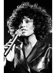 online store 68933 a22d8 Whitney Houston iconic singer b w image in concert 24x36 Poster