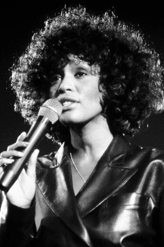 Whitney Houston iconic singer b/w image in concert for sale  Delivered anywhere in USA
