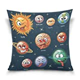 ALAZA Universe Space Galaxy Solar System Cotton Pillowcase 20 X 20 Inches Twin Sides, Funny Cartoon Emoji Pillow Case Sham Cover Protector Decorative for Home Hotel Couch Ded