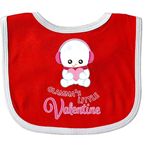 Inktastic Baby Boys' Glamma's Little Valentine Snowman Holding a Pink Heart Baby Bib Red/White (Snow White Outfit Ideas)