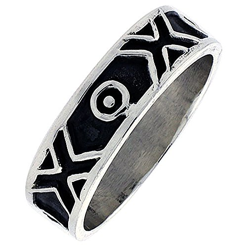 Sterling Silver Native American Navajo Pattern Ring Southwestern Design Handmade 1/4 inch wide, size (Indian Ring Designs)