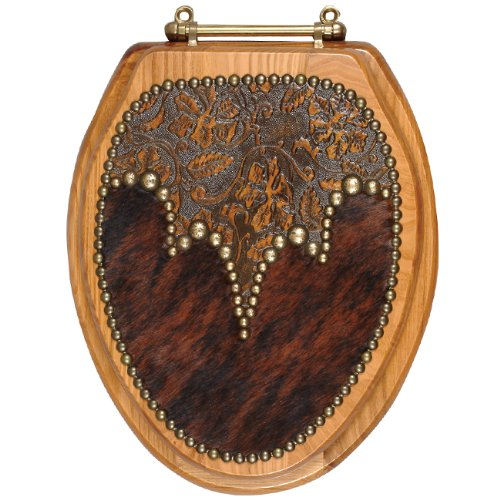 Cowhide & Leather Western Toilet Seat - Elongated - Rustic Bath Accessories