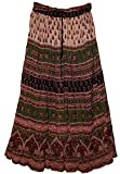 Fashion of India JNB Womens Indian Crinkle Broomstick Gypsy Long Skirt Lurex Printed