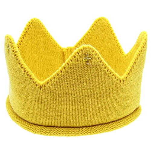 [Veenajo Baby Boy Girl Crown Hat Birthday Warm Soft Knit Crochet Beanie Warm Cap 5 Colors (Yellow)] (Pork Pie Hat For Sale)