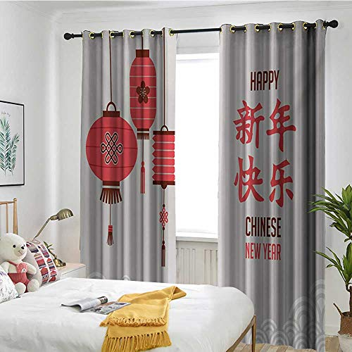 TRTK Pattern Curtains Room Dark Bathroom Waterproof Curtain Chinese New Year,Calligraphy Lettering in Kanji with Oriental Lanterns and Circle Motifs,Multicolor -