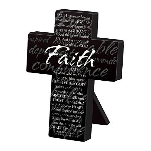 Lighthouse Christian Products Small Metal Black Faith Desktop Cross, 3 3/4 x 5