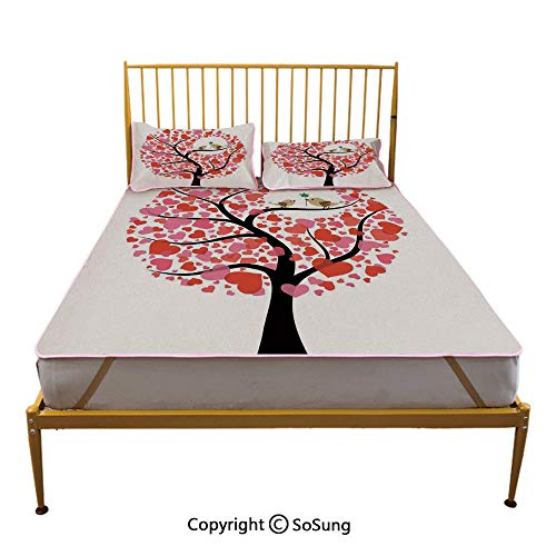 Animal Decor Creative Full Size Summer Cool Mat,Birds in The Tree Flirting Greeting in The Nature Romance Relationship Season Print Sleeping & Play Cool Mat,Red White -
